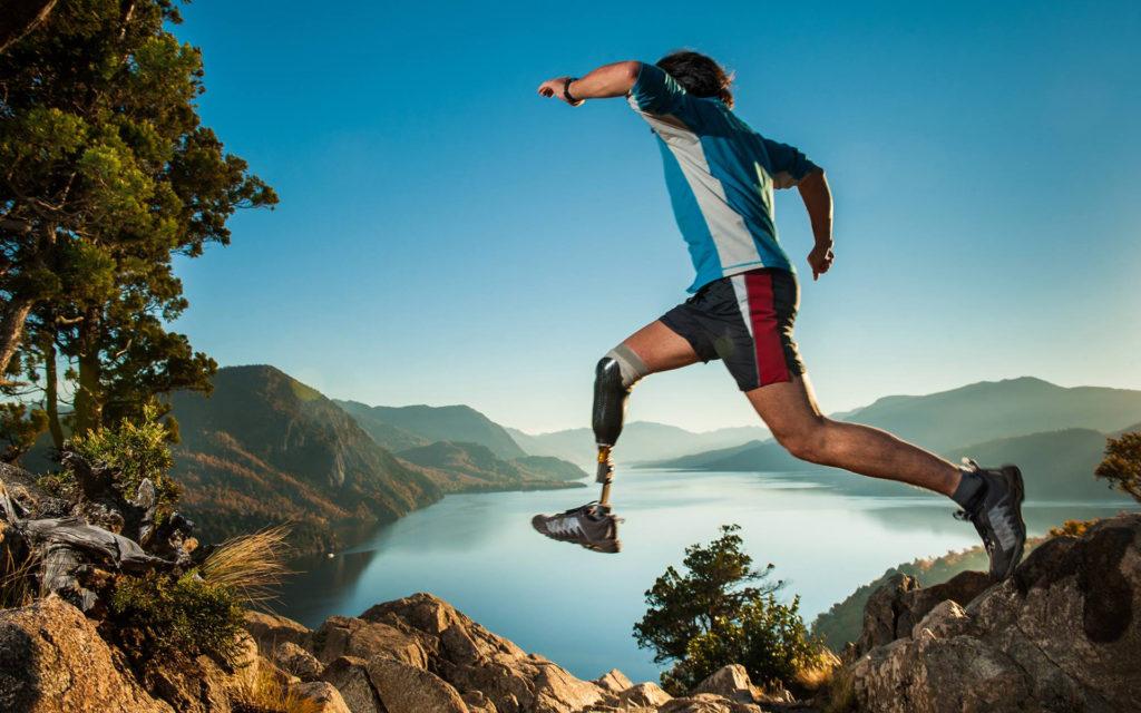 Runner with prosthetic leg